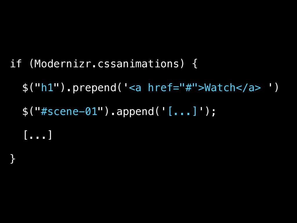 "if (Modernizr.cssanimations) { $(""h1"").prepend(..."