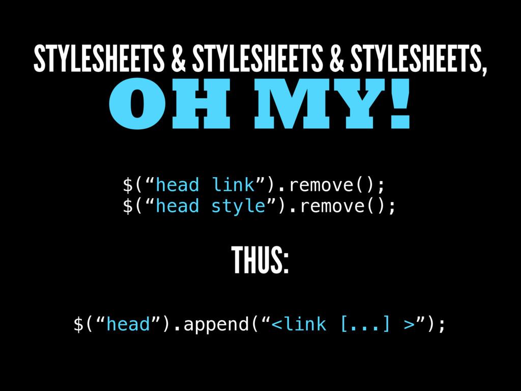 STYLESHEETS & STYLESHEETS & STYLESHEETS, OH MY!...
