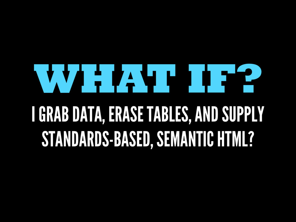 WHAT IF? I GRAB DATA, ERASE TABLES, AND SUPPLY ...