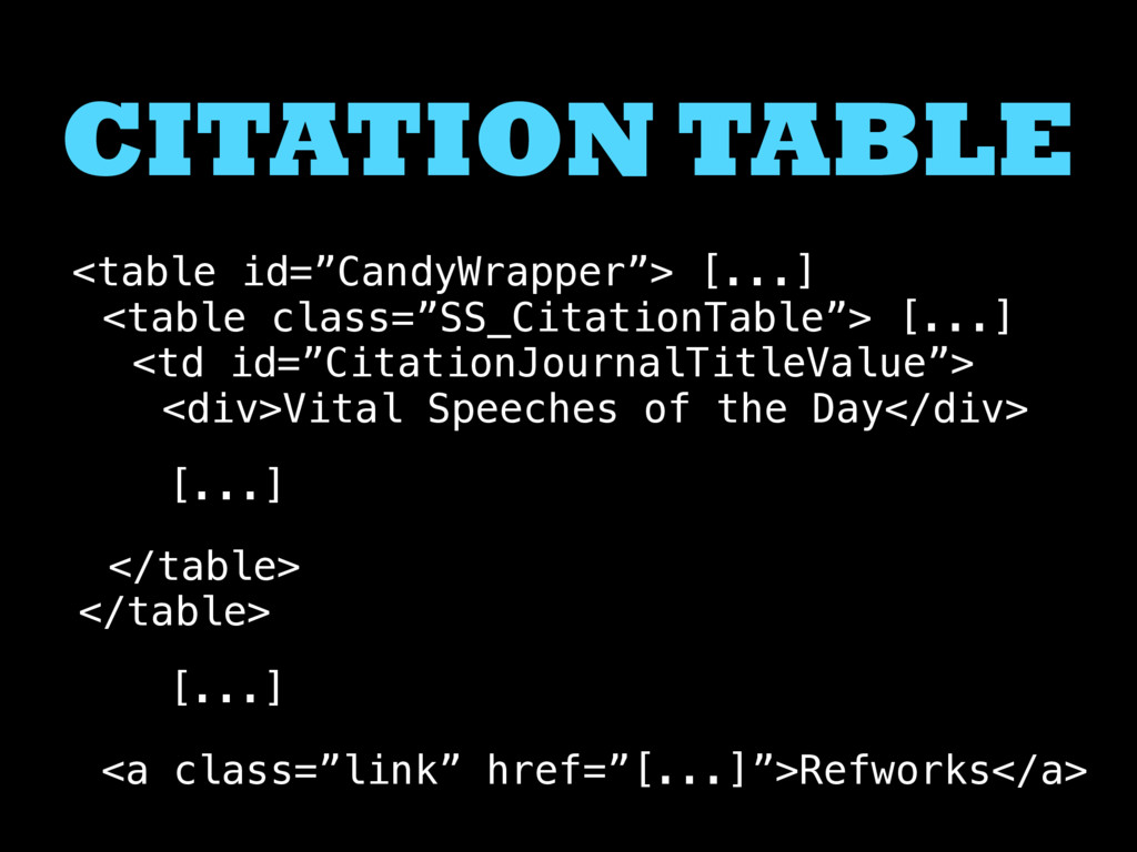 """CITATION TABLE <table id=""""CandyWrapper""""> [...] ..."""