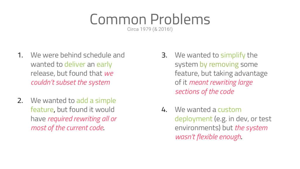 Circa 1979 (& 2016!) Common Problems 1. We were...
