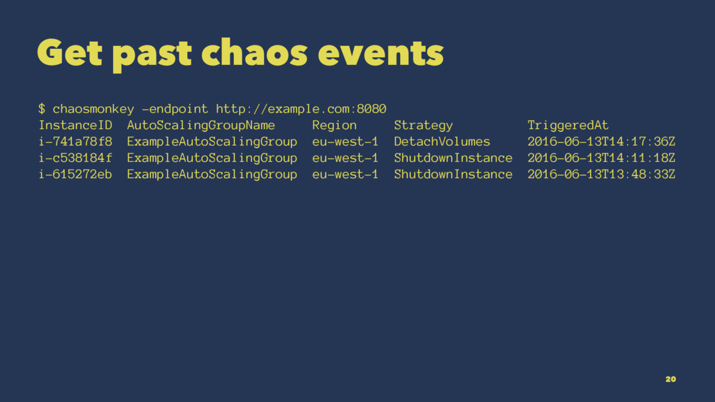 Get past chaos events $ chaosmonkey -endpoint h...