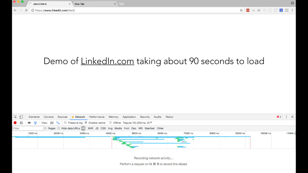 Demo of LinkedIn.com taking about 90 seconds to...