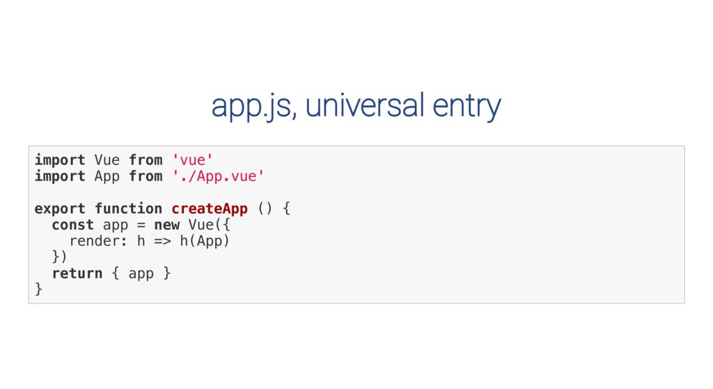 app.js, universal entry i m p o r t V u e f r o...