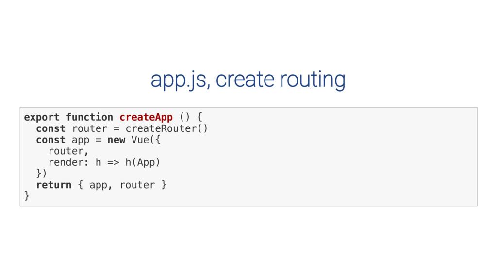 app.js, create routing e x p o r t f u n c t i ...