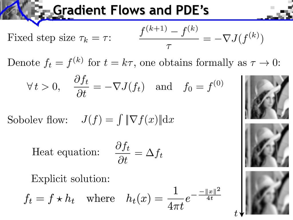 J ( f ) = R ||r f ( x )||d x Sobolev flow: @ft @...
