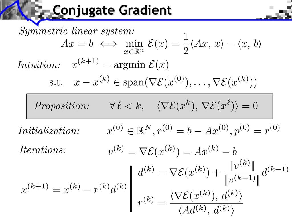 Symmetric linear system: Initialization: x (0) ...