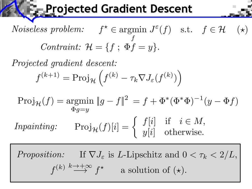 """Noiseless problem: f? 2 argmin f J""""(f) s.t. f 2..."""