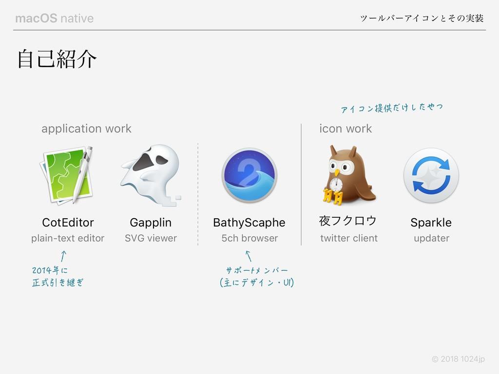 macOS native πʔϧόʔΞΠίϯͱͦͷ࣮ © 2018 1024jp ࣗݾհ ...