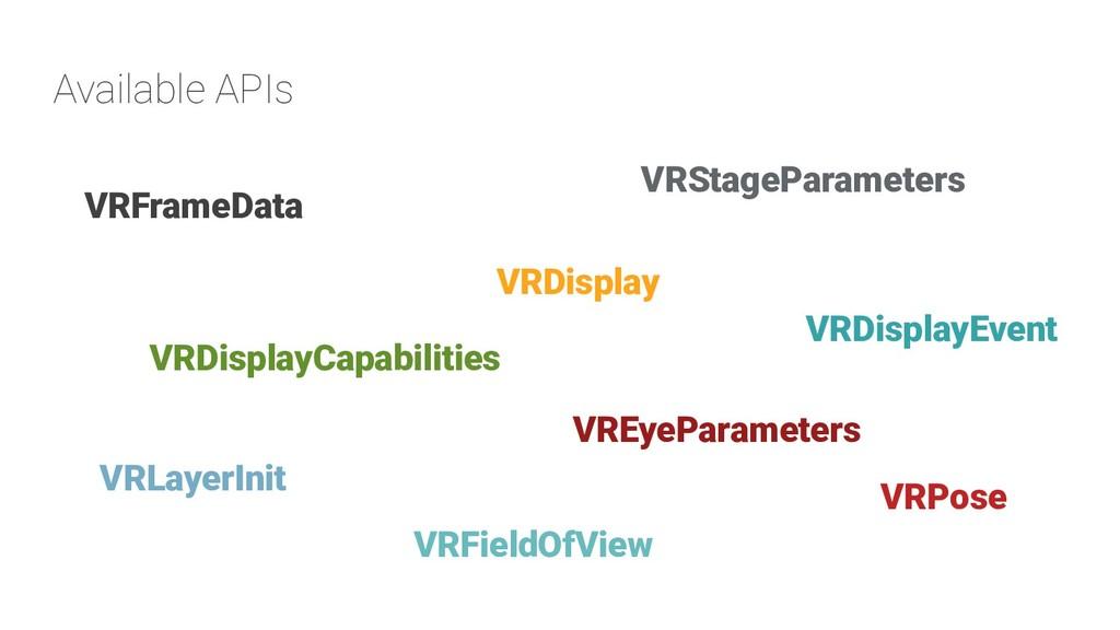 Available APIs VRDisplay VRDisplayCapabilities ...