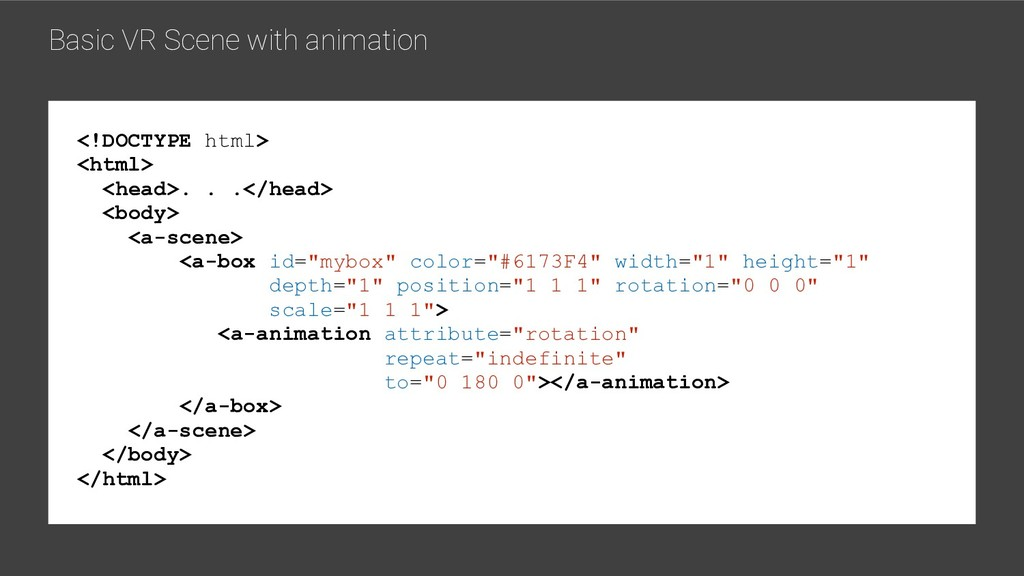 Basic VR Scene with animation <!DOCTYPE html> <...