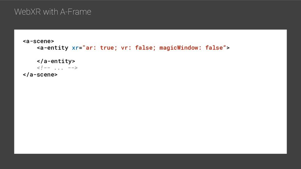 "WebXR with A-Frame <a-scene> <a-entity xr=""ar: ..."