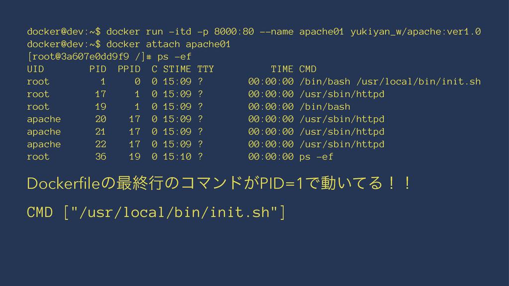 docker@dev:~$ docker run -itd -p 8000:80 --name...