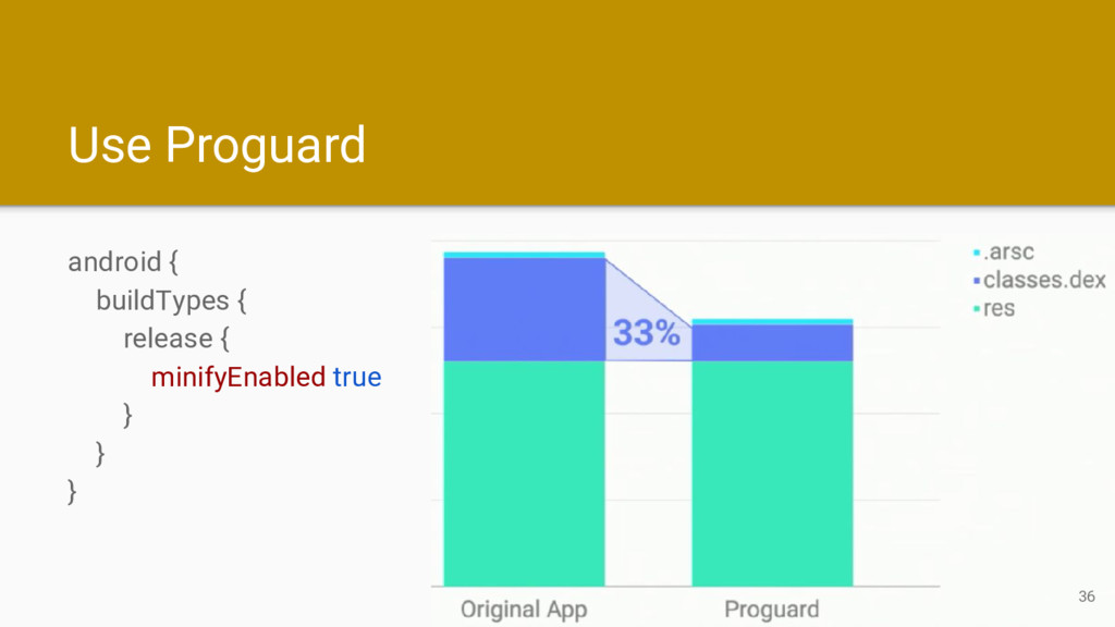 Use Proguard android { buildTypes { release { m...