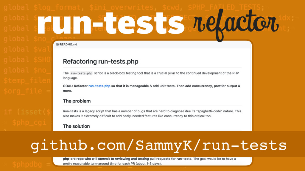 refactor github.com/SammyK/run-tests run-tests
