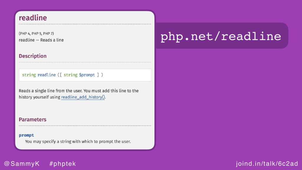 joind.in/talk/6c2ad @SammyK #phptek php.net/rea...
