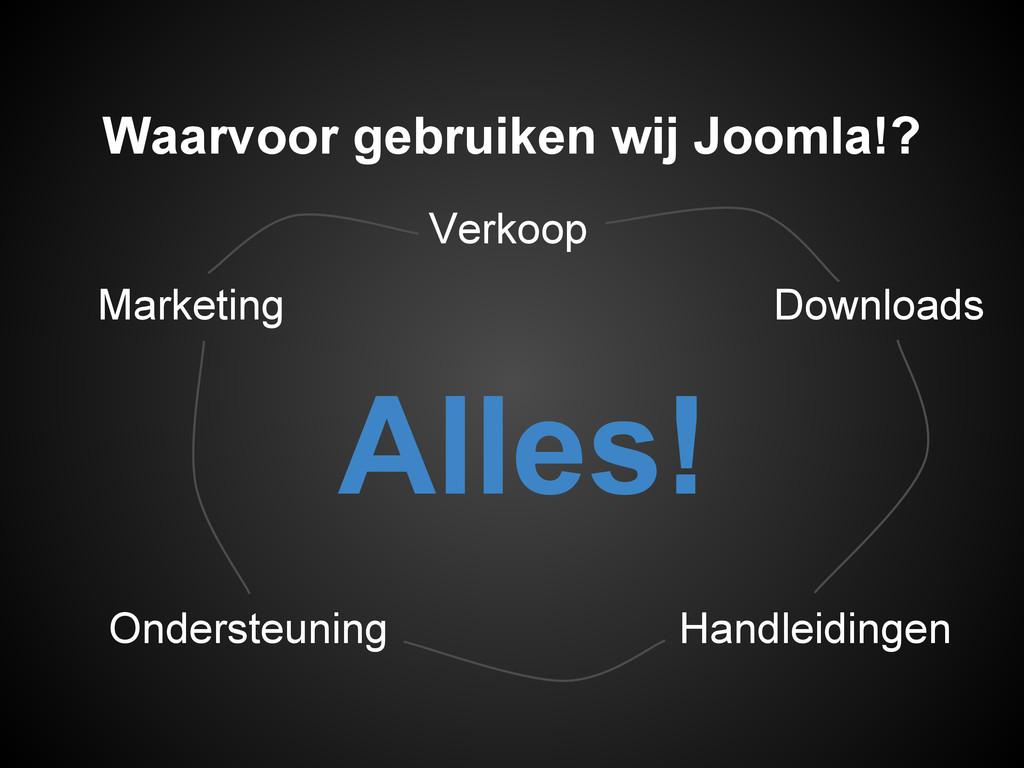 Marketing Waarvoor gebruiken wij Joomla!? Alles...