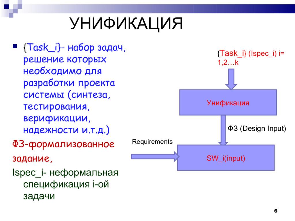 УНИФИКАЦИЯ  {Task_i}- набор задач, решение кот...