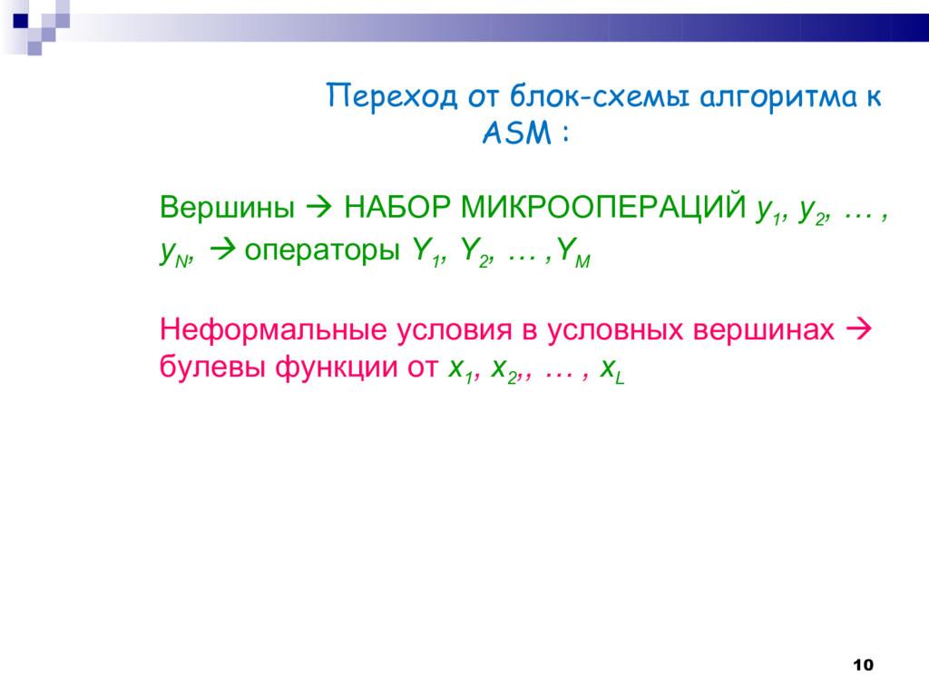 10 Переход от блок-схемы алгоритма к ASM : Верш...