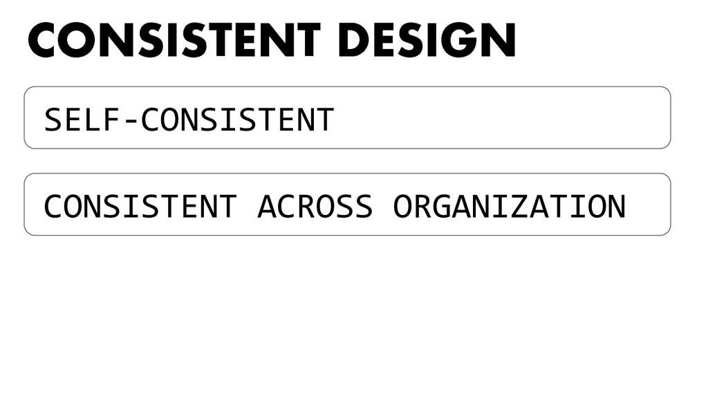 SELF-CONSISTENT CONSISTENT ACROSS ORGANIZATION