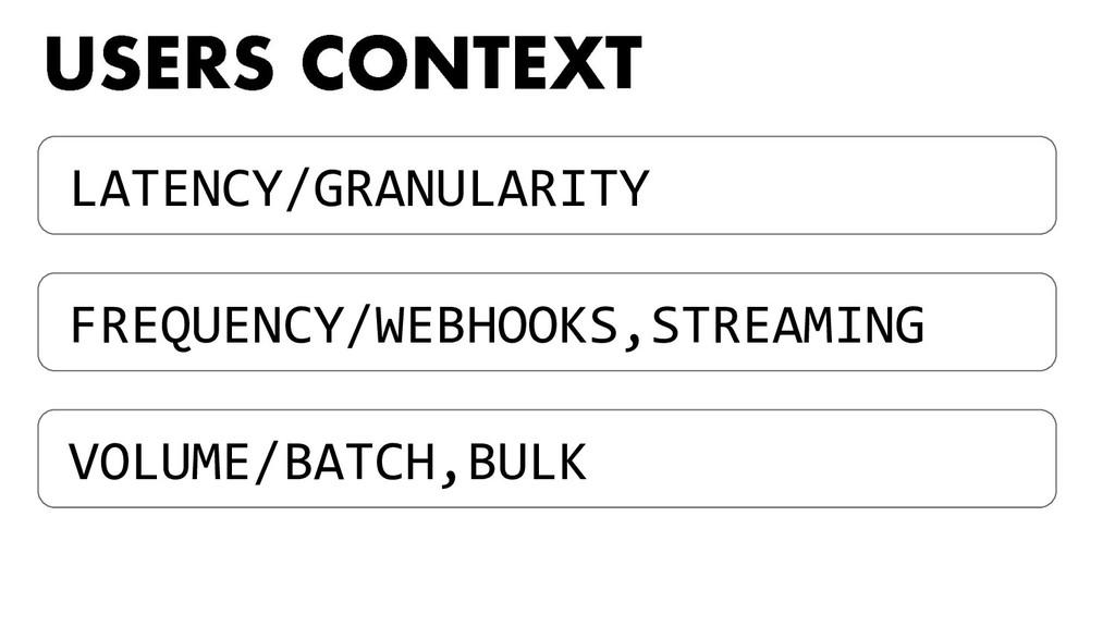 LATENCY/GRANULARITY FREQUENCY/WEBHOOKS,STREAMIN...