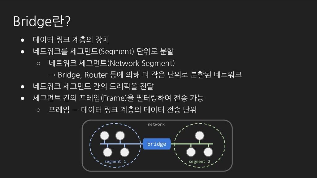 ● 데이터 링크 계층의 장치 ● 네트워크를 세그먼트(Segment) 단위로 분할 ○ ...
