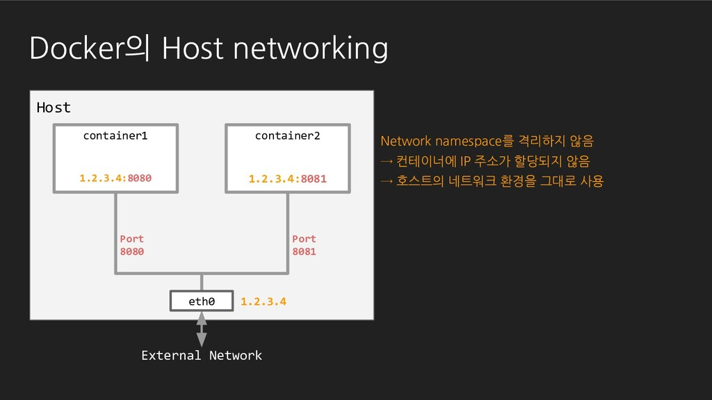 Host Docker의 Host networking container1 contain...