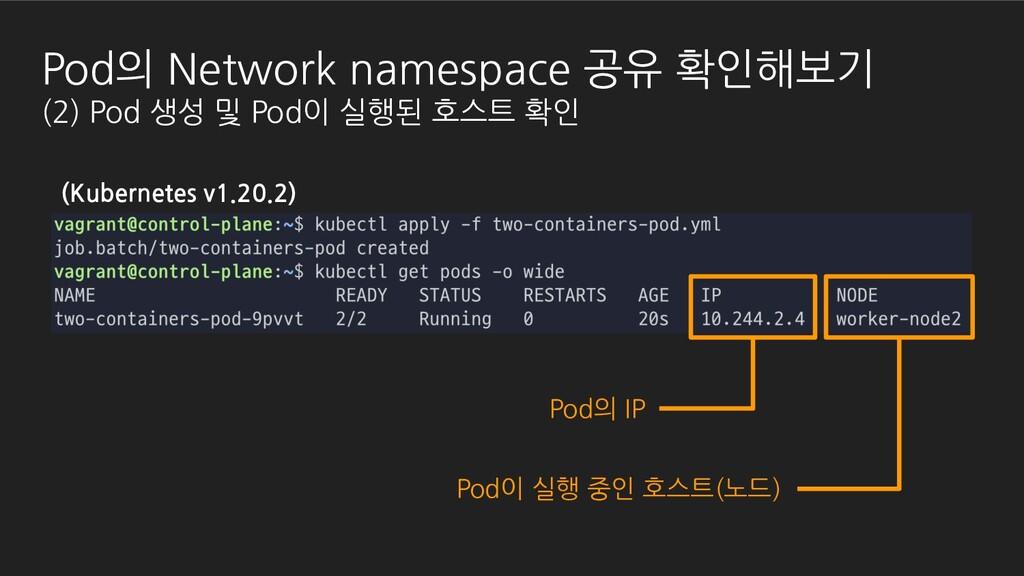 Pod이 실행 중인 호스트(노드) (Kubernetes v1.20.2) Pod의 Ne...