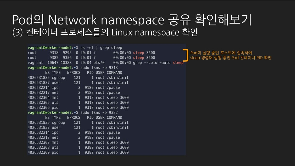 Pod의 Network namespace 공유 확인해보기 (3) 컨테이너 프로세스들의...
