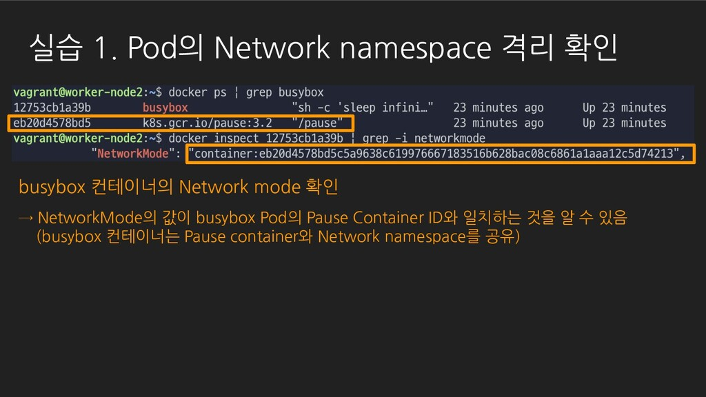 busybox 컨테이너의 Network mode 확인 → NetworkMode의 값이...