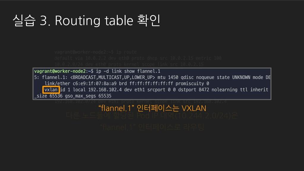 실습 3. Routing table 확인 다른 노드들에 할당된 Pod IP 대역(10...