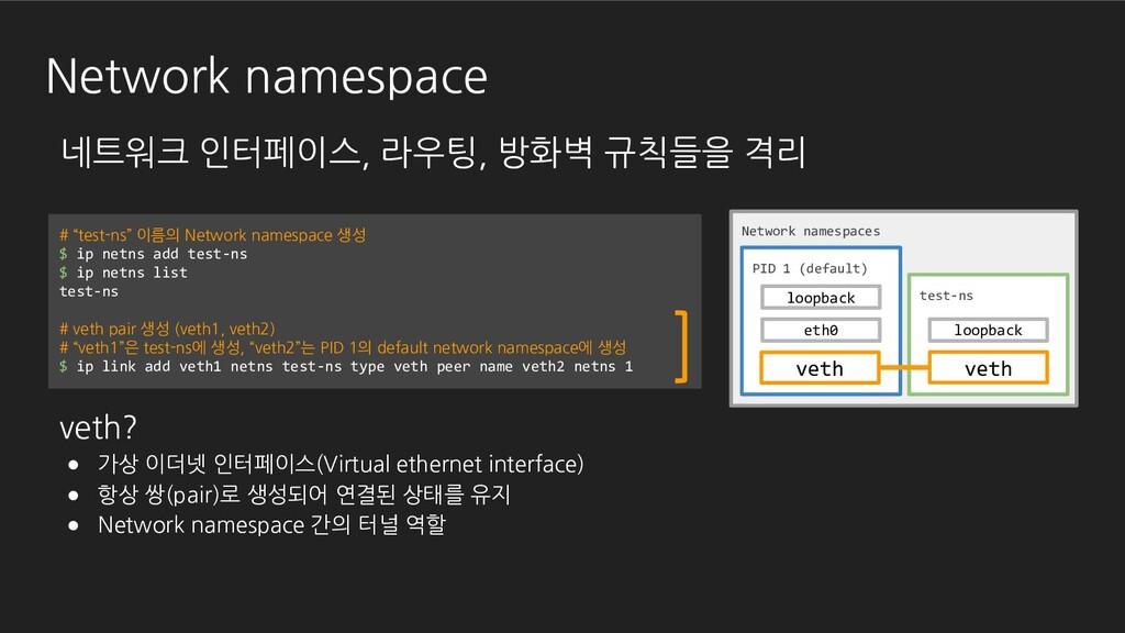 Network namespace 네트워크 인터페이스, 라우팅, 방화벽 규칙들을 격리 ...