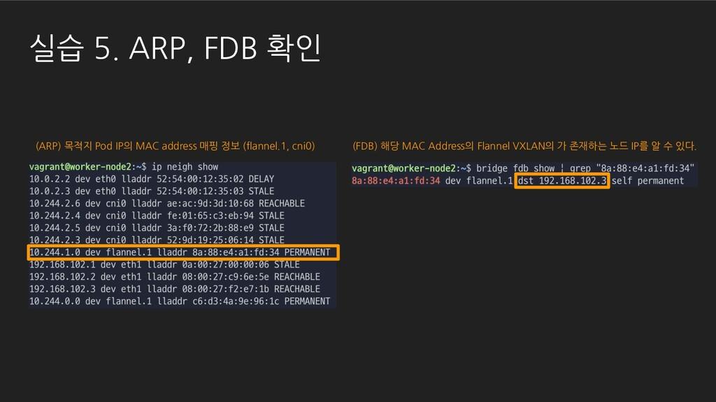실습 5. ARP, FDB 확인 (ARP) 목적지 Pod IP의 MAC address...