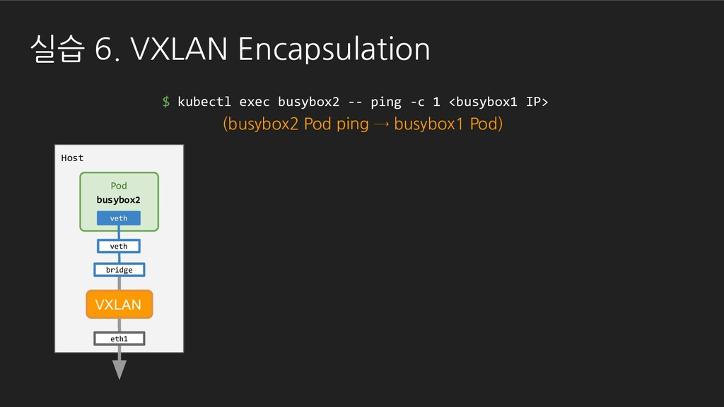 실습 6. VXLAN Encapsulation $ kubectl exec busybo...