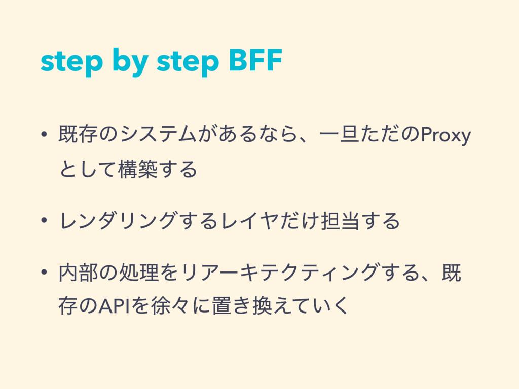 step by step BFF • طଘͷγεςϜ͕͋ΔͳΒɺҰ୴ͨͩͷProxy ͱͯ͠ߏ...