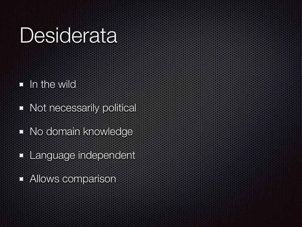 Desiderata In the wild Not necessarily politica...