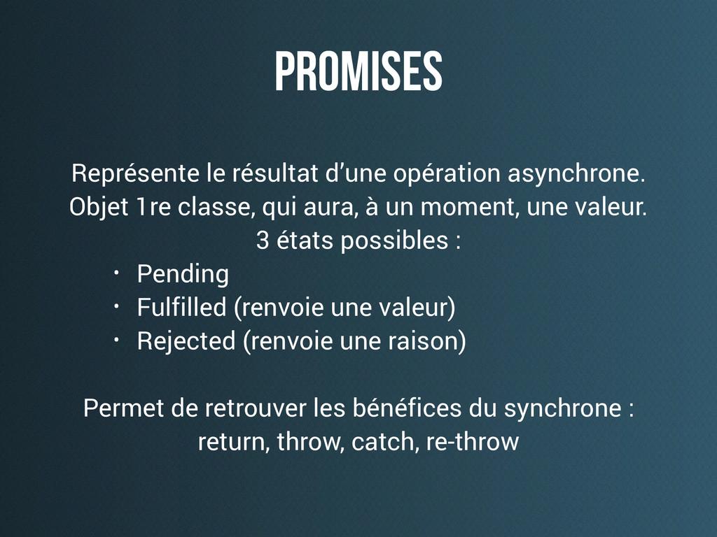 promises Représente le résultat d'une opération...