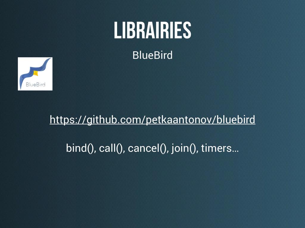 Librairies https://github.com/petkaantonov/blue...