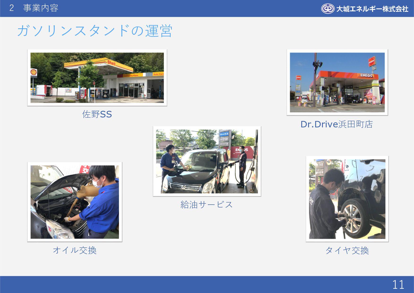 2 事業内容 11 ガソリンスタンドの運営 佐野SS Dr.Drive浜田町店 給油サービス ...