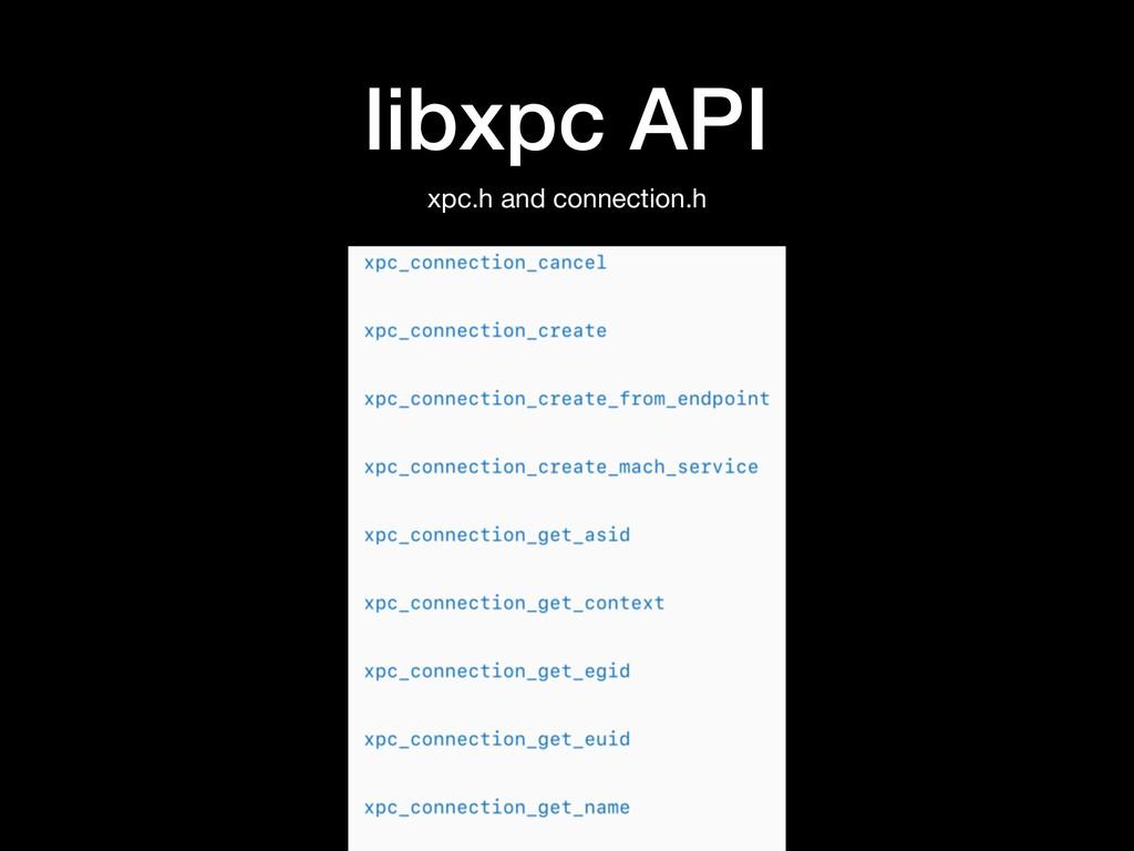 libxpc API xpc.h and connection.h