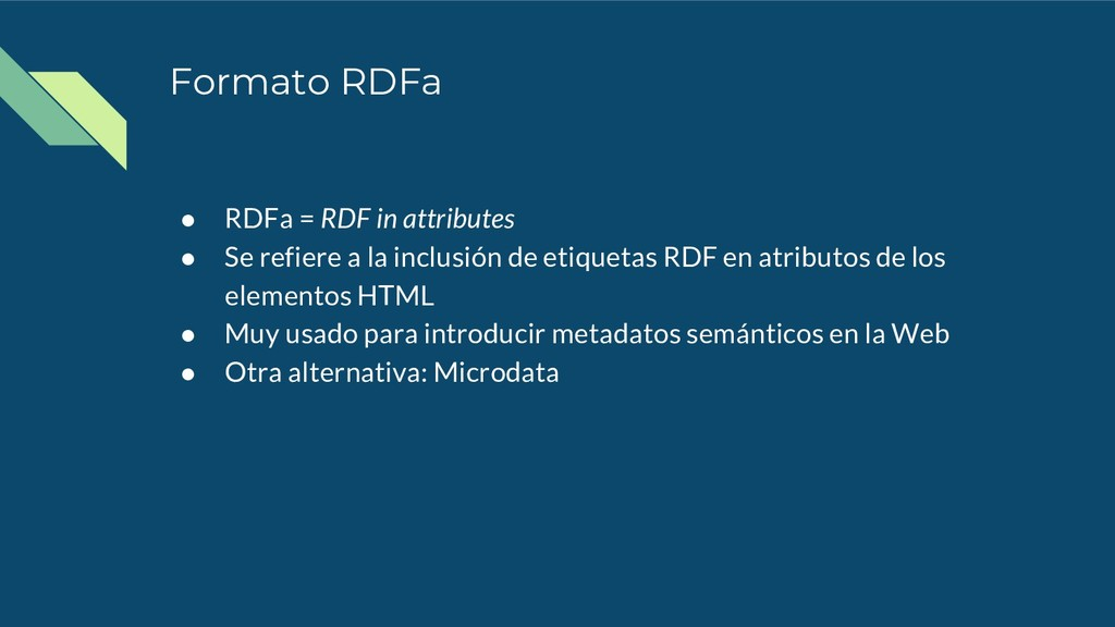 Formato RDFa ● RDFa = RDF in attributes ● Se re...