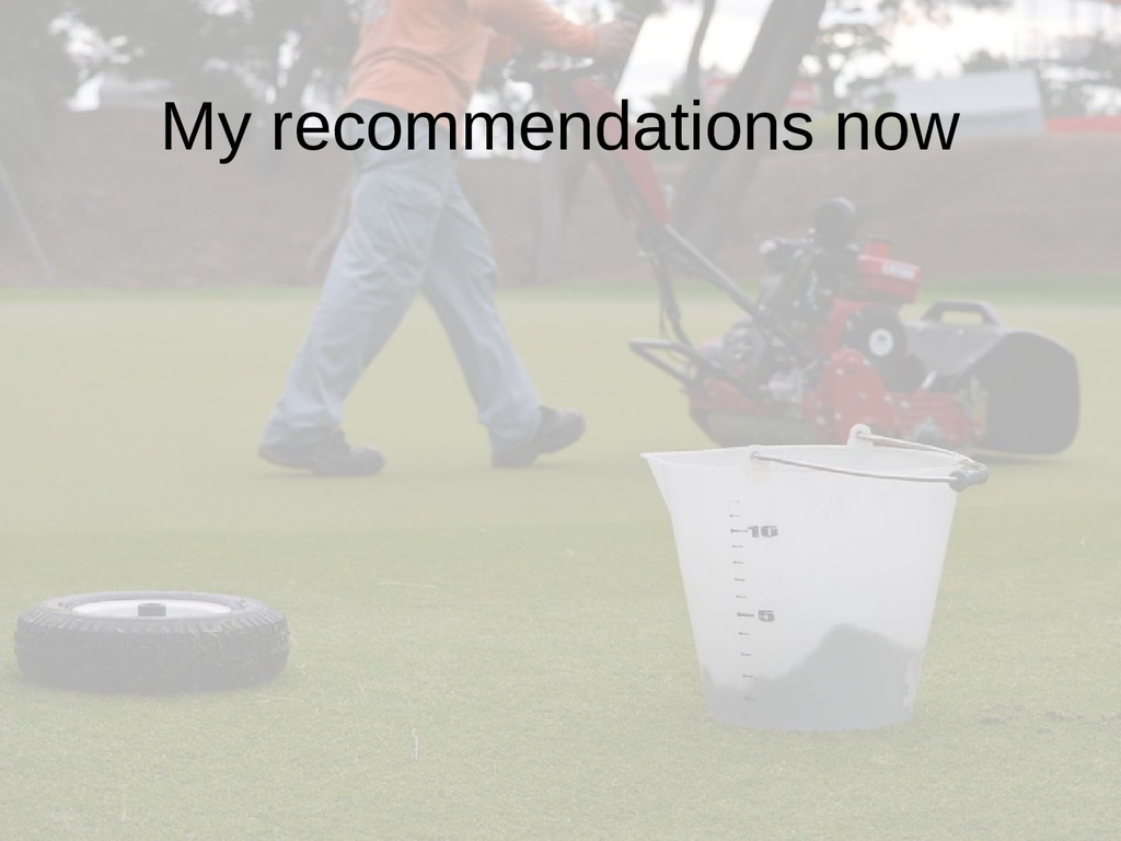 My recommendations now