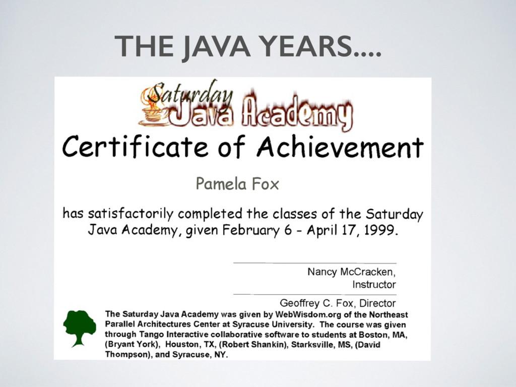 Pamela Fox THE JAVA YEARS....