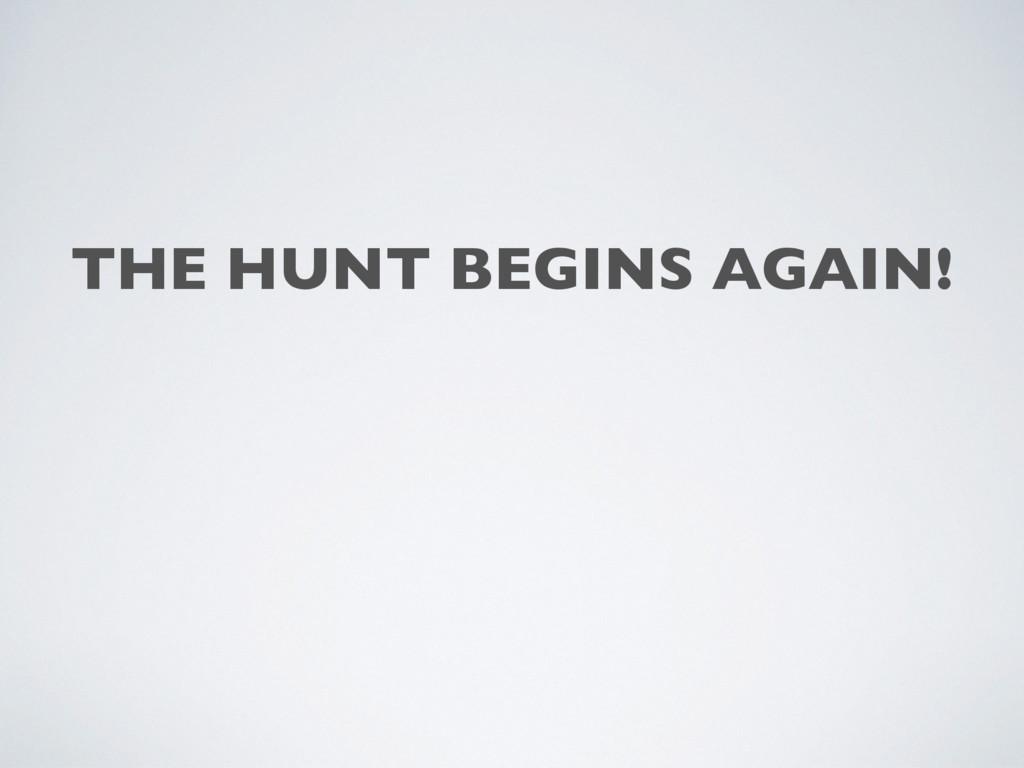 THE HUNT BEGINS AGAIN!