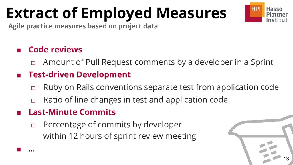 Extract of Employed Measures ■ Code reviews □ A...