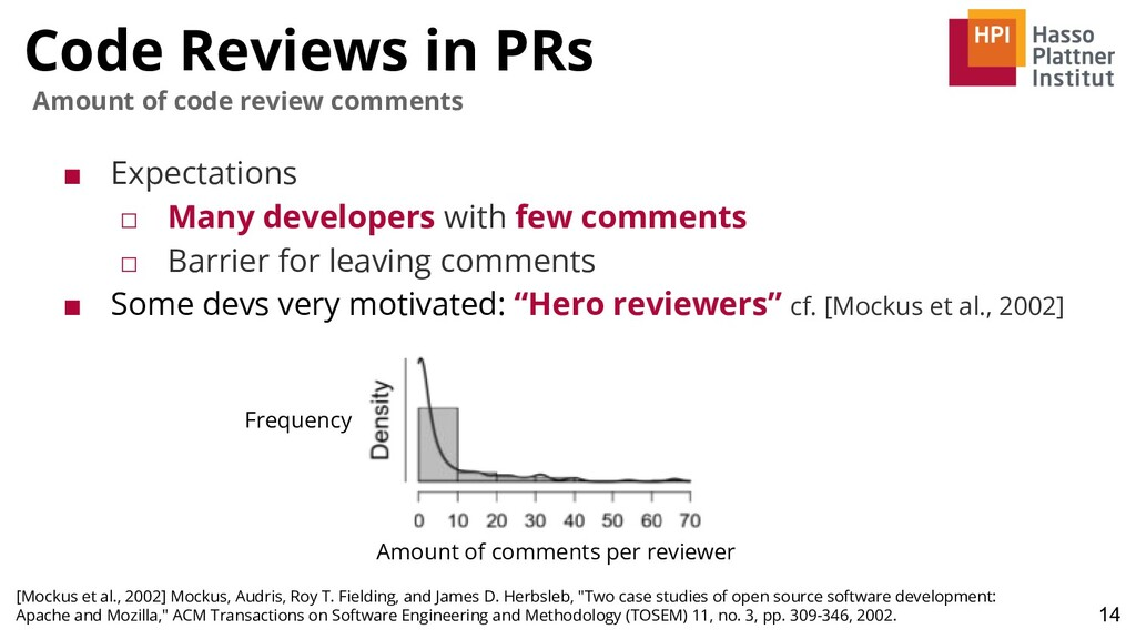 Code Reviews in PRs ■ Expectations □ Many devel...