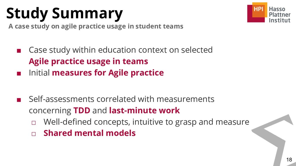 Study Summary 18 A case study on agile practice...