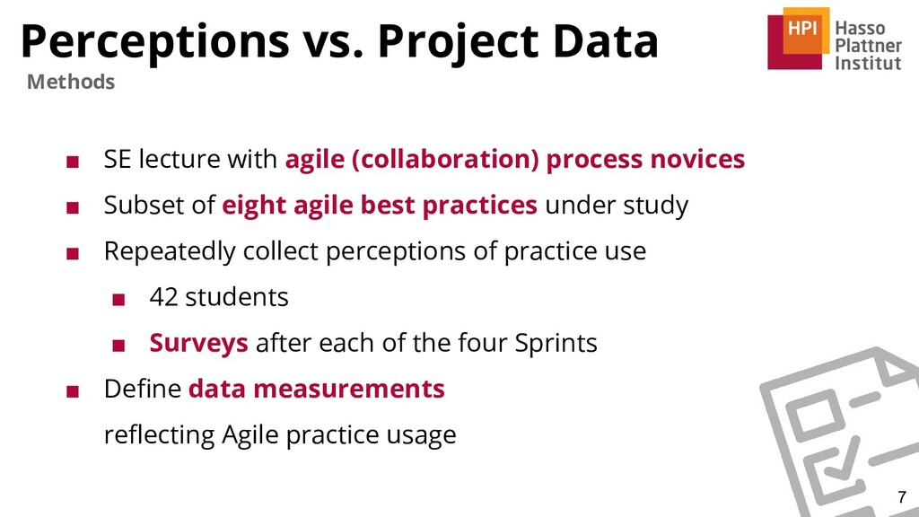 Perceptions vs. Project Data ■ SE lecture with ...