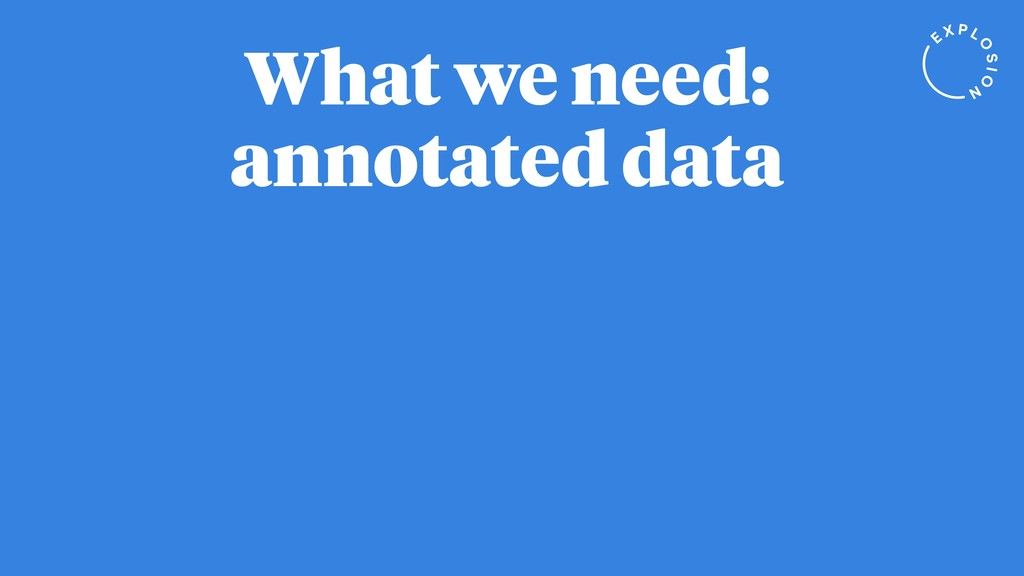 What we need: annotated data
