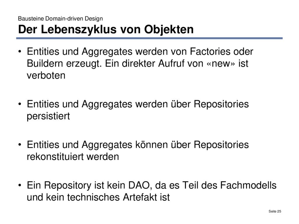 Bausteine Domain-driven Design Der Lebenszyklus...